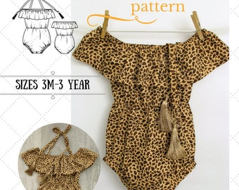 Boho Baby romper pattern, Off-the-shoulder baby romper PDF, Baby Romper Pattern-Alina Baby Pattern