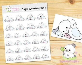 Winter Night/ Night Time/ Winter Sugar Bun Bunny Emoji/ Emotions Planner Stickers