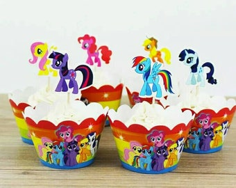 24 pieces of My Little Pony Theme Cupcake or Muffin Toppers and Wrappers. Party favor toppers and wrappers. Colorful wrappers.
