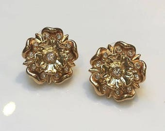 VINTAGE SPHINX - crystal flower pierced earrings