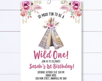 Wild One Birthday Invitation, Teepee Birthday Invitation, Boho Teepee Invitation, Fist Birthday Invite, Boho Invite, Tribal Birthday Invite