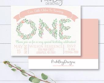 Floral First Birthday Invitation, Floral Letter Invite, Shabby Chic Birthday Invitation, Pink and Green Invite, Girl Birthday Invitation
