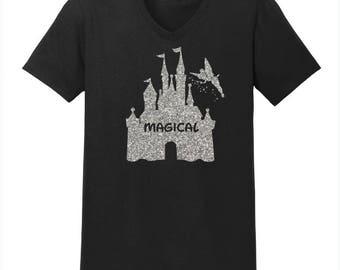 Women's V-neck Magical Castle Shirt Disney Christmas Shirt Women's Disney Shirt Women's Glitter Shirt Disney Shirts Disneyland Disney World