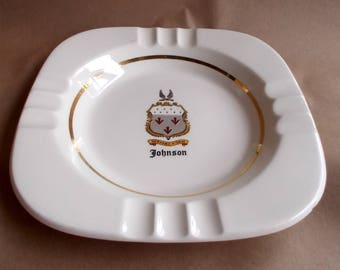 "Vintage Mid Century Ashtray ""Johnson"" Family Crest Coat of Arms"