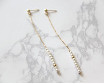 14k gold filled bead freshwater pearl long earrings