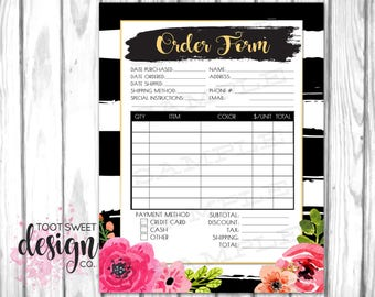 Order Form, Printable Order Form for Small Business, Customer Order Sheet Order Page, Best Black White Floral Stripe Design INSTANT DOWNLOAD