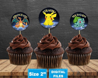 Pokemon cake toppers, instant download, pokemon cupcake toppers, pokemon party, instant download, Pokemon GO birthday party, Pikachu party