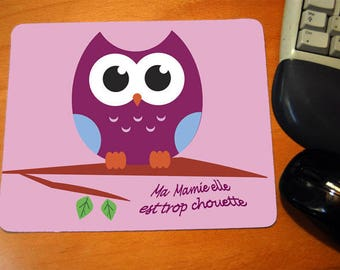 "Mouse mat rectangle message ""My grandma she is so cool"""