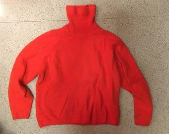 Vintage Red Labswool+Angora Turtleneck Sweater