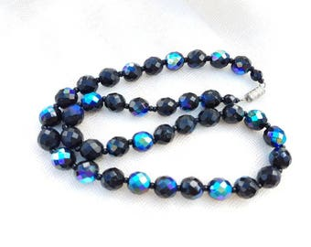 Carnival glass and black beaded Vintage Necklace - black and aurora borealis blue necklace vintage - 1950s beaded necklace - peacock blues