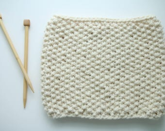 Ready To Ship, Seed Stitch, Cowl, Thick Circular Scarf, White
