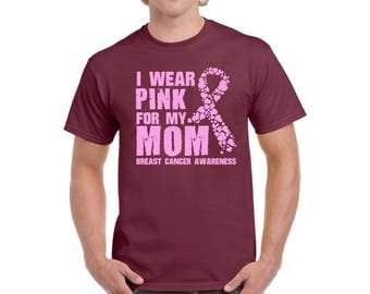 I Wear Pink for My Mom T shirts Shirts Tee Tops Men's T-shirts Breast Cancer Shirt Pink Ribbon Shirt