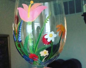 Flower Garden Wine Glass