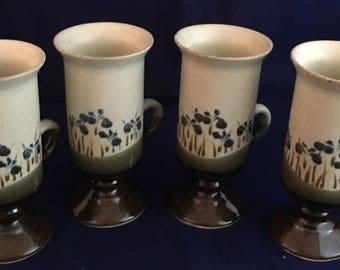 Set of 4 Otagiri Iris 6 oz. Pedestal Iris Mugs