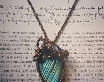 Labradorite amulet Copper pendant Wirewrap pendant Healing crystal jewelry Boho pendant Blue Labradorite pendant