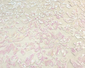 White Unicorn Iridescent Sequin Lace Fabric by the yard