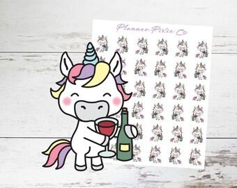 Unicorn Planner Stickers // Wine // Me Time