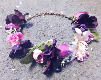 Purple and Pink Flower Crown