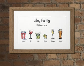 Personalised A4 Family of Drinks framed print (2-6 drinks)