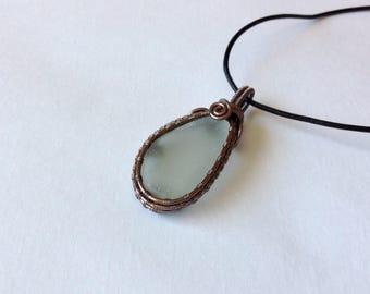 Sea glass jewelry, sea glass pendant, sea glass necklace, wire wrapped sea glass, copper wire wrap, wire wrapped pendant, boho