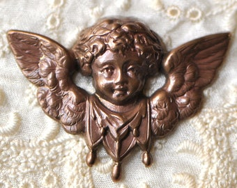 Vintage Cherub in Flight Brass Stamping French Made in France 1 Piece 538J