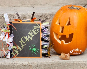 HALLOWEEN MINI ALBUM, Halloween Paper Bag Album, Photo Album, Memory Album, Halloween Album, Halloween Photo Album, Halloween Memory Album