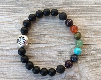 Essential Oil Diffuser Bracelet, Aromatherapy Bracelet, Chakra, Lava Diffuser, Includes 1ml EO Sample Blend, Ships FREE in US