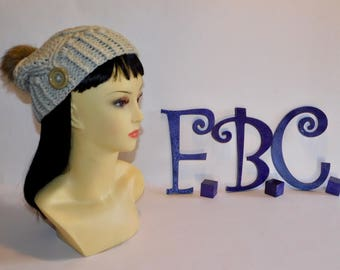 Crochet Cabled Hat w/removeable PomPom