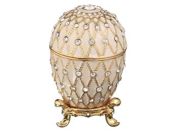 Russian Faberge Style Egg / Trinket Jewel Box with Grid 7cm (2.8'') white