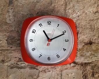 Vintage Mid Century  Wall Clock/ Orange & Silver Chrome / Space age design / Gorenje Yugoslavia 70s
