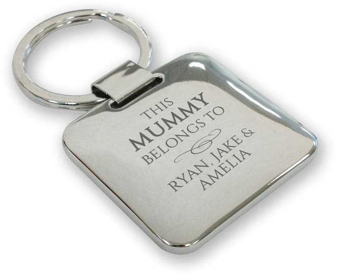 Personalised engraved SILVER PLATED This MUMMY belongs to keyring gift, deluxe pillow square keyring - SQB7