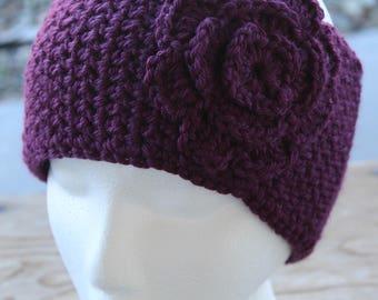 Ear Warmer - Grape / Purple w/ Flower