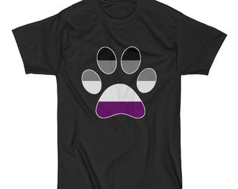 Asexual Pride Dog Paw Short Sleeve T-Shirt lgbt lgbtq lgbtqia queer ace