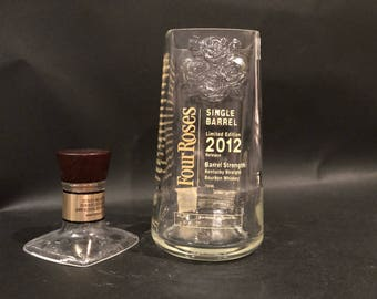 Four Roses Single Barrel Bourbon Whiskey Bottle Soy Candle With/Without Pedestal Base. Made To Order !!!