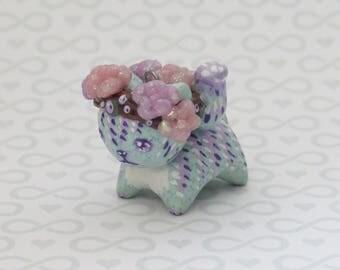 Succulent Flower Crown Cat Charm