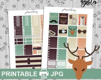 HIPSTER // Printable Planner Stickers // Weekly Planner Kit // hipster deer bowtie weekly planner kit erin condren stickers eclp vertical