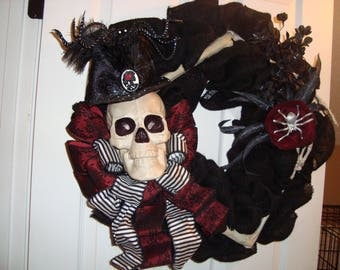 Spooky Skull wreath, Halloween wreath, Skull with top hat wreath, Red and Black skull wreath with arms, Skull head wreath