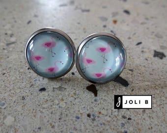 Earrings 12 mm Flamingo Pink stainless steel