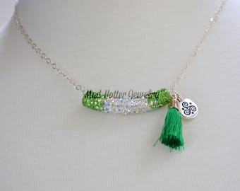 St. Patrick's Day green crystal necklace