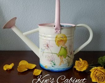 """Metal Watering Can Decoupage//  Watering Can  """"Cute Little Girl"""" // Vintage  Watering Can// Hand Painted Watering Can"""