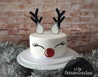 Reindeer Cake Topper, Rudolph Cake Topper, Christmas Cake Glitter Topper