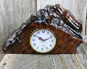 Redwood Burl Clock Table Shelf Mantle Desk Office Gifts for Men Sitting Wood #C