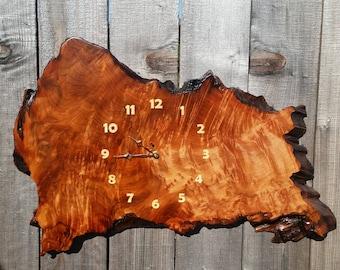 Redwood Burl Clock Handmade Wall Hanging Rustic Slab Anniversary Gift #12