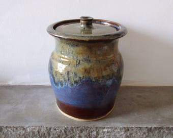 Large Ceramic Stoneware Jar in Autumnal Colours - Pottery Made on the Wheel - Kitchen Storeage - Urn Style - Home Decor
