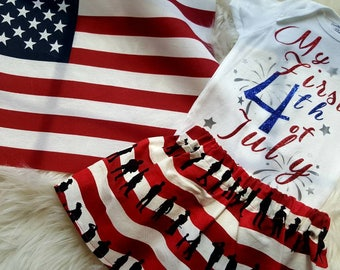 Fourth of July outfit, fourth of July onesie, baby 1st fourth of July, 1st fourth of july skirt
