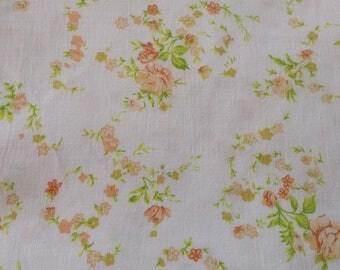 Vintage floral bedsheet: single flat sheet