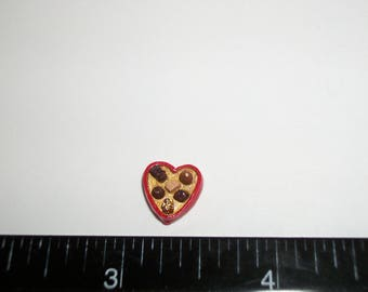 10mm ~ Dollhouse Miniature Handcrafted Valentines Day Heart Chocolate Candy Sweet Dessert Doll Food 907