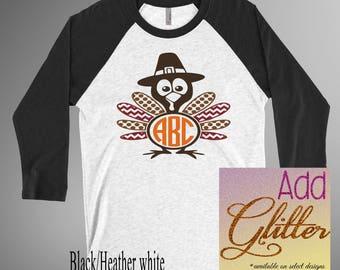 Turkey Thanksgiving Monogram Shirt Baseball Tee Raglan 3/4 Sleeve Soft Holiday Shirt
