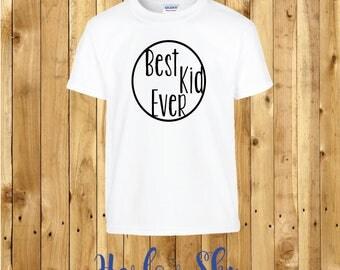 100% Cotton Kids T-shirt With 'Best Kid Ever' Slogan Print Present Gift Birthday Childrens