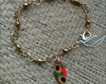 Bracelet made from swivels used in fishing with a lure spinner as a charm